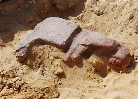 A newly discovered statue made from quartzite stone is seen in the tomb of Pharaoh Mycerinus, on the outskirts of Cairo, in this handout photo released February 24, 2009 (Photo: REUTERS/Egyptian Supreme Council Of Antiquities/Handout)