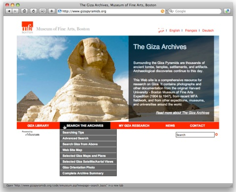 Screenshot of the Giza Archives homepage (www.gizapyramids.org). Click the refresh button to see a different background photo each time. There's a lot of them!