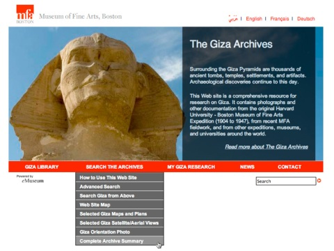"Click ""Complete Archive Summary"" to see the current totals on the Giza Web site."