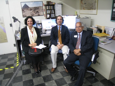 Wafaa el Saddiq, Peter Manuelian, and Asmi el Rabbat at the Giza Archives, MFA Boston.