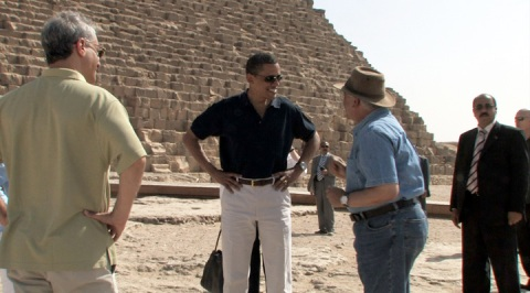 President Obama talks with Zahi Hawass on the north side of the Great Pyramid (June 4, 2009).