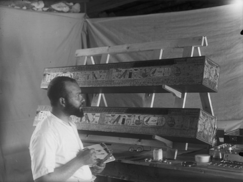 Hagg Ahmed Youssef as a young man, working on the curtain box and reconstruction of Queen Hetepheres, discovered in 1925 by the Harvard-MFA Expedition. This photo was taken on May 12, 1939.