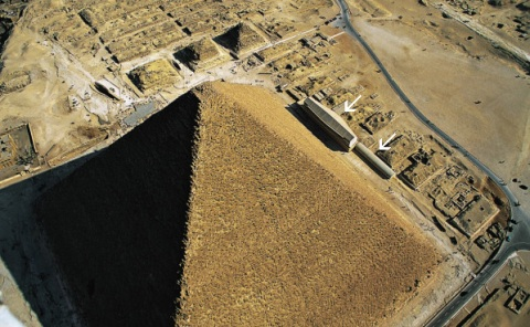 Aerial view of the Great Pyramid of Khufu, showing the location of the excavated (left) and unexcavated (right) boat pits.