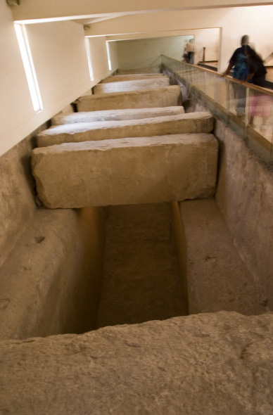 The first Khufu boat pit, with of its huge limestone covering slabs. The Khufu Boat Museum is constructed directly on top of the boat pit, with the reconstructed boat displayed above it.