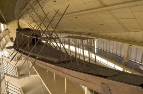 The famous Khufu boat, as it is displayed today at Giza, beside the Great Pyramid.
