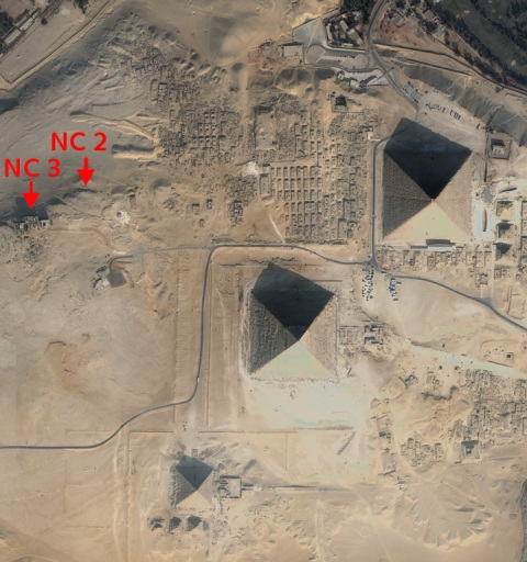 Figure 1. Quickbird satellite image of the Giza plateau, showing the location (marked in red) of two of the rock-cut tombs in the northern cliffs (January 5, 2009).